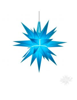 Herrnhuter Stern blau, 13 cm A1e mit LED