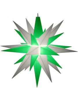 Herrnhuter Stern weiß-grün, 13 cm A1e mit LED