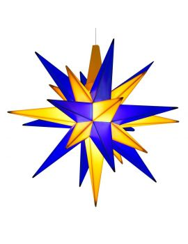Herrnhuter Stern blau gelb, 13 cm A1e mit LED Edition Oberlausitz